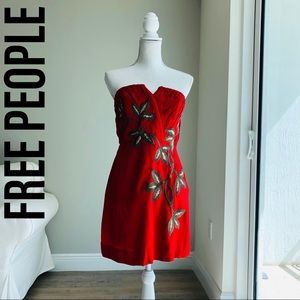 FREE PEOPLE Strapless Red Dress